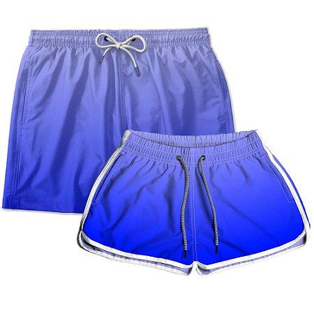 Kit Shorts Casal Masculino e Feminino Azul Degrade Use Thuco