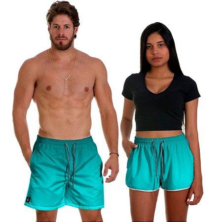 Kit Shorts Casal Masculino e Feminino Azul Piscina Degrade Use Thuco