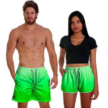 Kit Shorts Casal Masculino e Feminino Verde Degrade Use Thuco