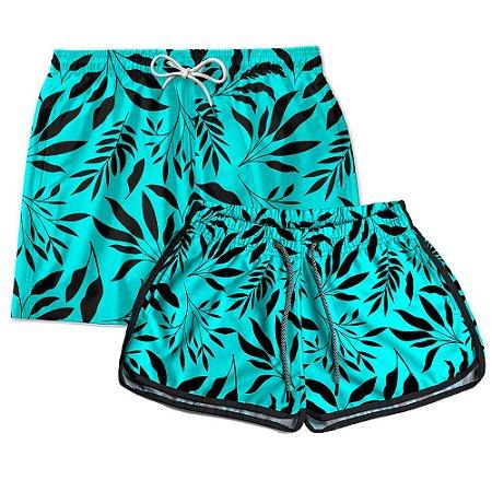 Kit Short Casal Use Thuco Folhagem Azul com Preto
