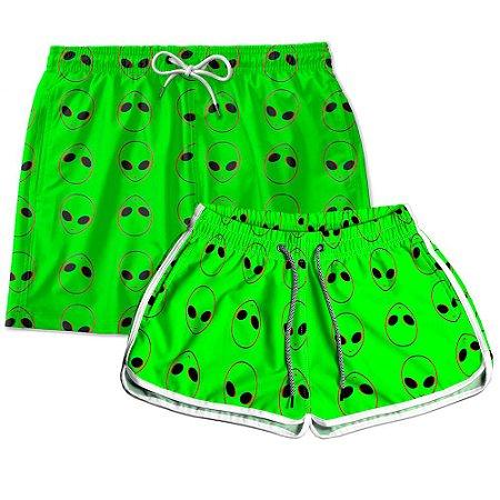 Kit Casal Short Praia Use Thuco Coleção ABDUCTION - Green