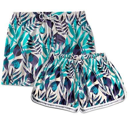 Kit Casal Short Praia Use Thuco Floral Art Cores