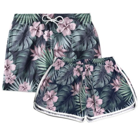 Kit Casal Short Praia Tropical Flowers Use Thuco