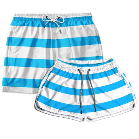 Kit Casal Short Praia Listras Azul Use Thuco