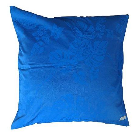 Capa Almofada Azul com Folhagem 50 x 50cm
