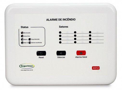 Central de Alarme de Incêndio Convencional 12V 12 setores Segurimax