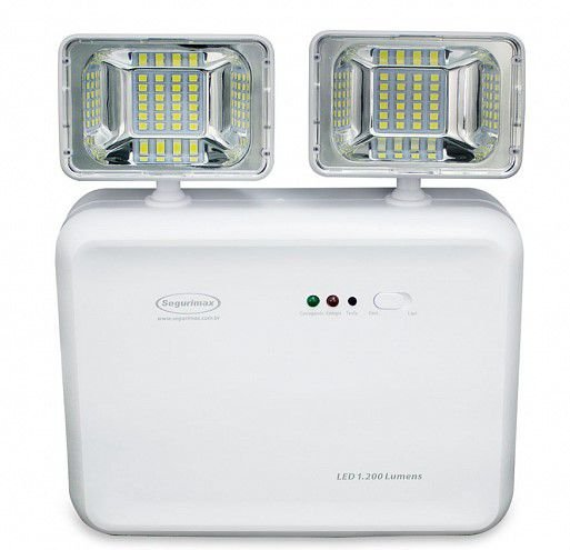 Iluminação de Emergência LED 1200 Lumens 2 Faróis - Predial Segurimax