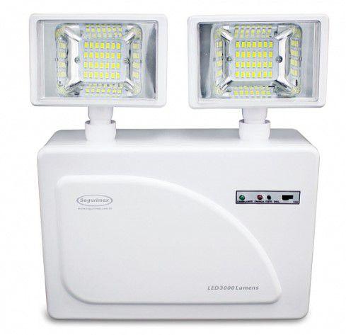 Iluminação de Emergência LED 3000 Lumens 2 Faróis Segurimax