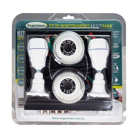 Kit CFTV Monitoramento 4 Canais com 4 Câmeras HD Segurimax