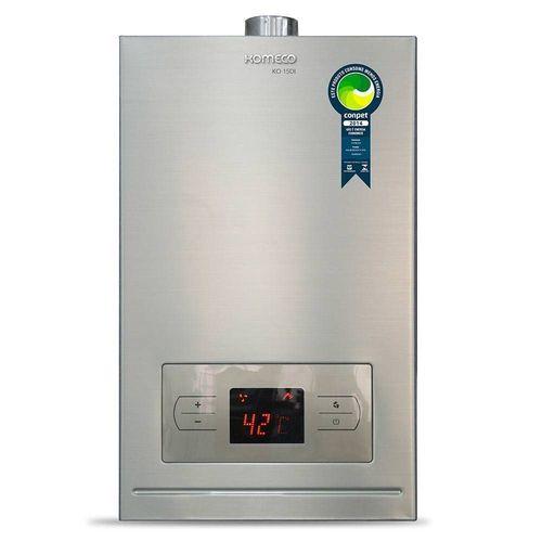 Aquecedor a de água a gás Komeco KO 15D I - Digital - Inox - Exaustão Forçada - Gás Natural - Vazão 15L