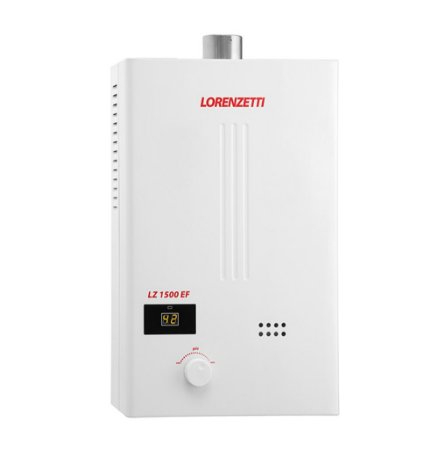Aquecedor de água a gás LZ 1500 EF - Baixa Pressão - Exaustão Forçada - Gás Natural - Vazão 15L