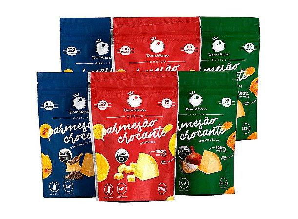 Kit 6 Snacks de Queijo Parmesão Desidratado