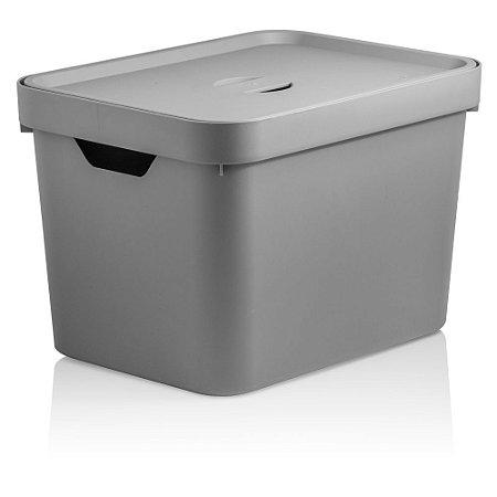 Caixa Cube Média Com Tampa 18L Chumbo - Ou