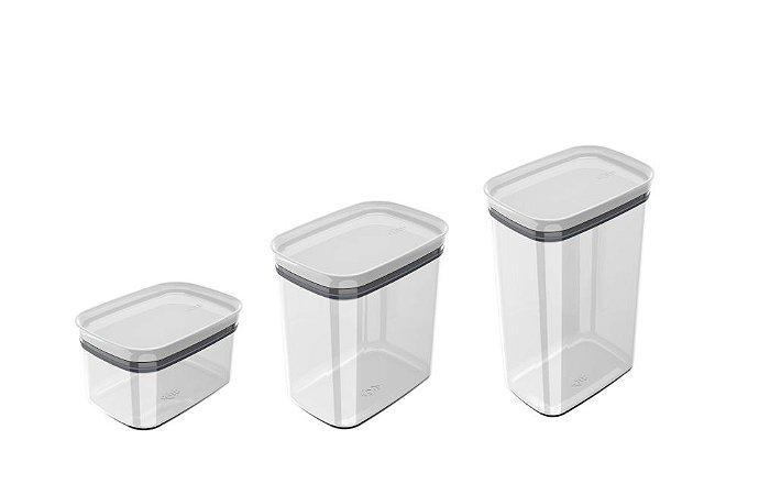 Kit Pote Hermético Retangular Block Branco 3 Peças - Ou
