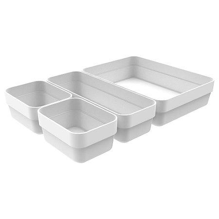 Kit Organizador De Gavetas Logic Branco 4 Peças - Ou
