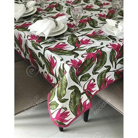 Toalha de Mesa em Gorgurinho Floral Verde e Rosa