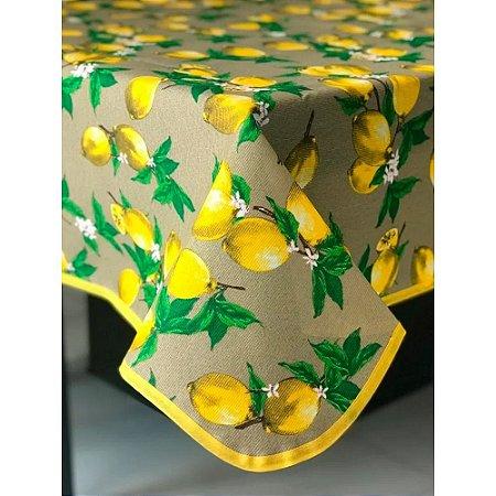 Toalha de Mesa em Gorgurinho Limão Siciliano Fundo Bege