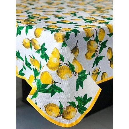 Toalha de Mesa em Gorgurinho Limão Siciliano Fundo Branco