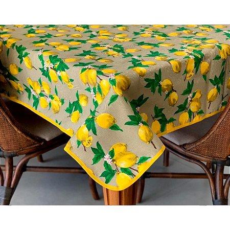 Toalha de Mesa em Jacquard Limão Siciliano Fundo Bege