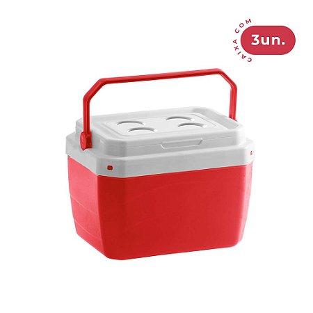 Caixa Térmica 17 Litros Vermelha - 03 Unidades