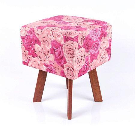 Puff Quadrado em Jacquard Estampado Floral Rosa e Pink
