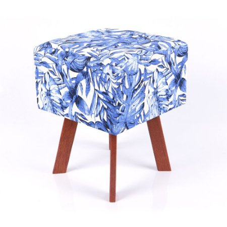 Puff Quadrado Em Jacquard Estampado Tropical Costela De Adão Azul