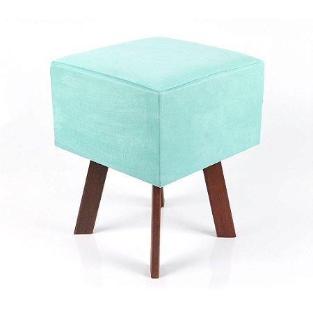 Puff Quadrado Em Suede Azul Tiffany
