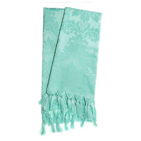 Manta Para Sofá Em Tecido Jacquard Azul Tiffany Medalhão