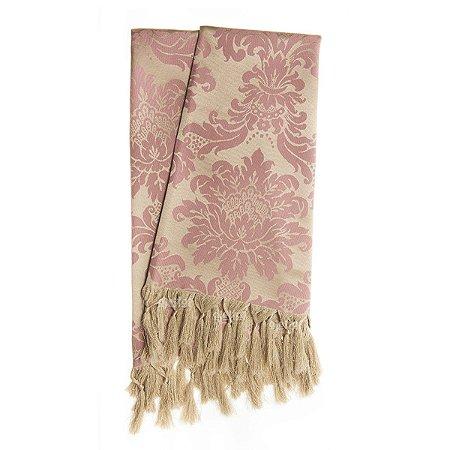 Manta Para Sofá Em Tecido Jacquard Rosa Envelhecido E Dourado Medalhão
