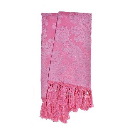 Manta para sofá em Tecido Jacquard Rosa Pink Chiclete Medalhão