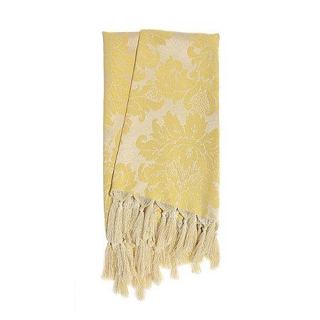Manta para sofá em Tecido Jacquard Amarelo Medalhão