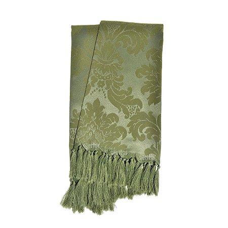 Manta para sofá em Tecido Jacquard Verde Musgo Medalhão