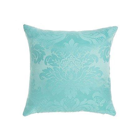 Capa para Almofada em Tecido Jacquard Azul Tiffany Medalhão