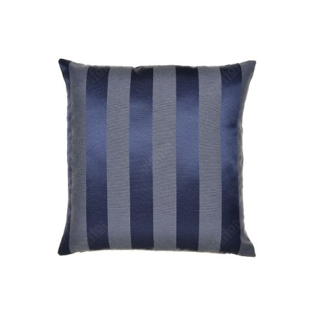 Capa Para Almofada Em Tecido Jacquard Azul Marinho E Cru Listrado