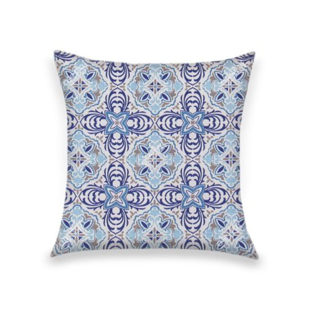 Capa Para Almofada Em Tecido Jacquard Estampado Azulejo Português Azul