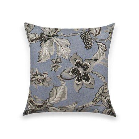 Capa para Almofada em Tecido Jacquard Estampado Floral Azul e Cinza
