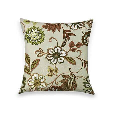 Capa para Almofada em Tecido Jacquard Estampado Floral Verde e Vermelho Fundo Branco