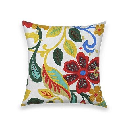 Capa para Almofada em Tecido Jacquard Estampado Floral Azul, Amarelo e Verde