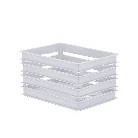 Organizador Caixote Alto Branco Grande
