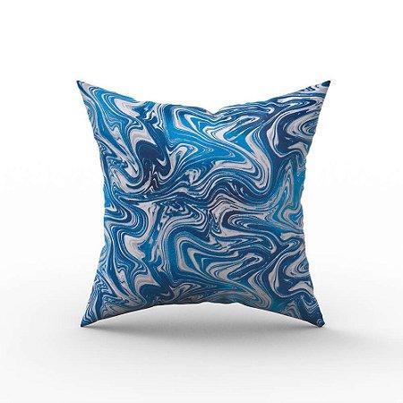 Capa de Almofada em Tecido Impermeável Acqua Linea Abstrato Azul