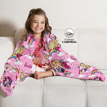 Manta Fleece de Sofá Estampada Barbie Reinos Mágicos – 1,25m x 1,50m
