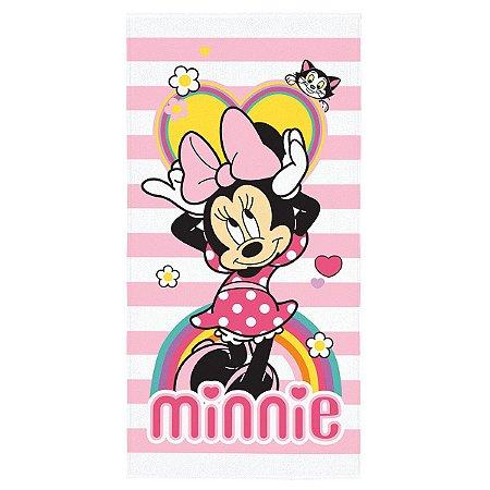 Toalha Aveludada Estampada Minnie - 70cm x 1,40m