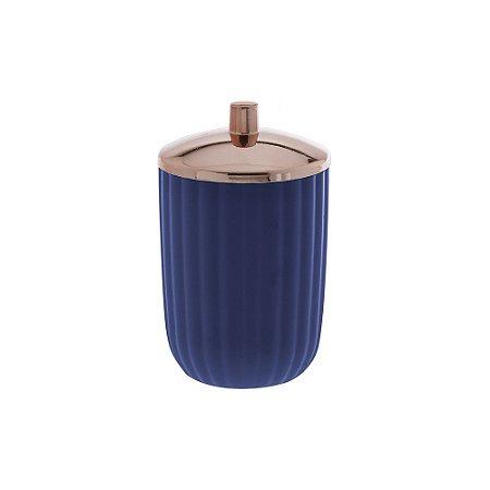 Porta Algodão e Cotonete Bagno Canelatta Azul