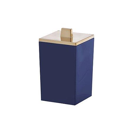Porta Algodão e Cotonete Bagno Quadratta Azul