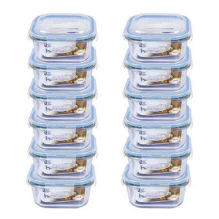 Pote Hermético De Vidro Quadrado 520 ml - 12 Unidades