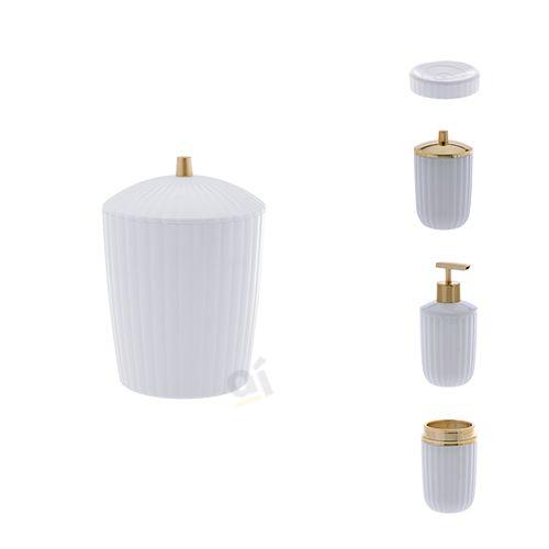 Kit Acessórios Para Banheiro Canelatta Branco 5 Peças