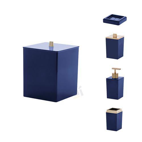 Kit Acessórios Para Banheiro Quadratta Azul 5 Peças