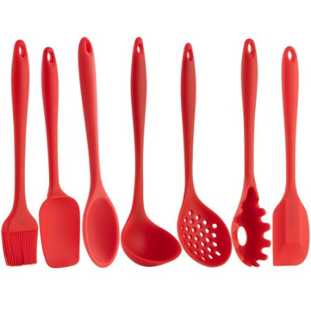 Kit Utensílios De Cozinha Silicone Vermelho 7 Peças