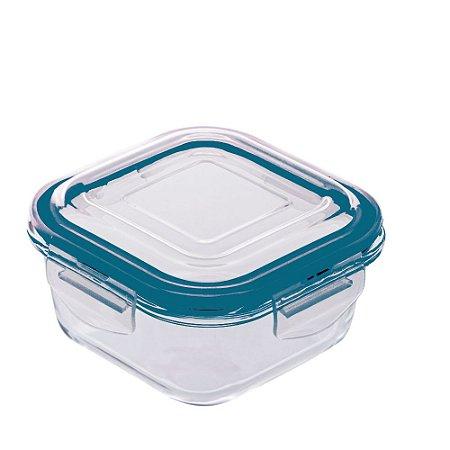Pote Hermético De Vidro Quadrado Azul 800 ml