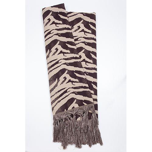 Manta Rústica para Sofá Zebra Marrom e Bege